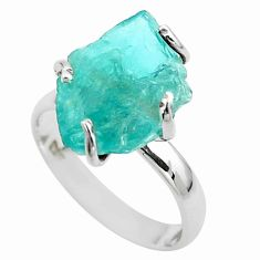 925 silver 6.45cts solitaire natural green apatite raw ring size 7 t52271