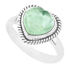 925 silver 5.34cts green aquamarine heart handmade ring size 9 t21797