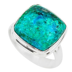 925 silver 9.98cts solitaire natural green azurite malachite ring size 6 t21429