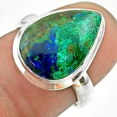 925 silver 6.35cts solitaire natural green azurite malachite ring size 6 t55532