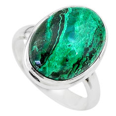 925 silver 9.45cts solitaire natural green azurite malachite ring size 7 t21426