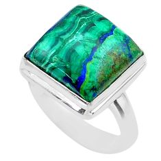 925 silver 14.00cts solitaire natural green azurite malachite ring size 7 t45514