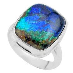 925 silver 13.28cts solitaire natural green azurite malachite ring size 7 t45528