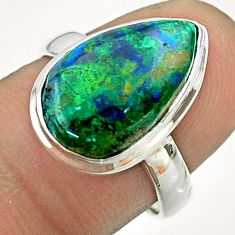 925 silver 7.33cts solitaire natural green azurite malachite ring size 7 t55547