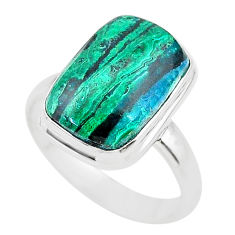 925 silver 8.42cts solitaire natural green azurite malachite ring size 8 t21436