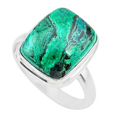 925 silver 7.12cts solitaire natural green azurite malachite ring size 8 t21439