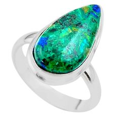 925 silver 12.03cts solitaire natural green azurite malachite ring size 8 t45523