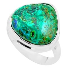 925 silver 14.60cts solitaire natural green azurite malachite ring size 8 t45548