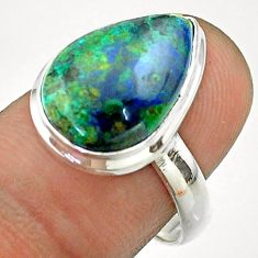 925 silver 8.75cts solitaire natural green azurite malachite ring size 8 t55524
