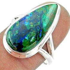 925 silver 10.24cts solitaire natural green azurite malachite ring size 8 t55577