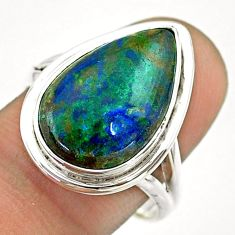 925 silver 10.41cts solitaire natural green azurite malachite ring size 9 t55560
