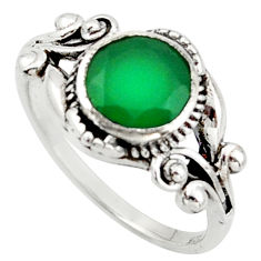 925 silver 2.92cts solitaire natural green chalcedony round ring size 7.5 r40844