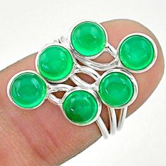 925 silver 4.89cts solitaire natural green chalcedony round ring size 4.5 t19184