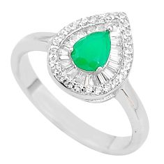 925 silver 4.08cts solitaire natural green chalcedony topaz ring size 9 t10571