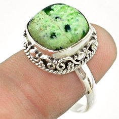 925 silver 6.74cts solitaire natural green chrome chalcedony ring size 8 t55879