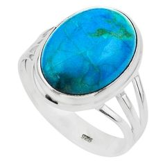 925 silver 14.28cts solitaire natural green chrysocolla oval ring size 11 t24754