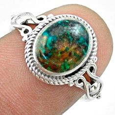 925 silver 4.09cts solitaire natural green chrysocolla oval ring size 7 t57452