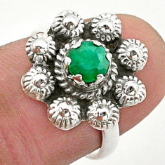 925 silver 1.04cts solitaire natural green emerald flower ring size 6 t40686