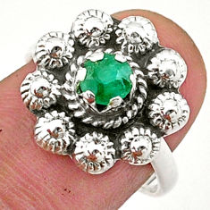 925 silver 0.87cts solitaire natural green emerald flower ring size 7 t40707