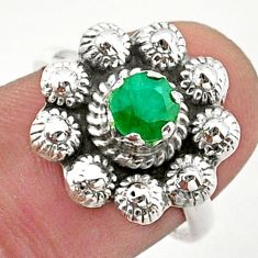 925 silver 0.87cts solitaire natural green emerald flower ring size 7 t40727