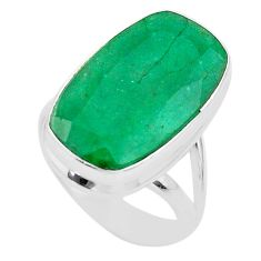 925 silver 13.36cts solitaire natural green emerald octagan ring size 7 t47253
