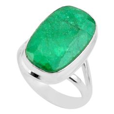 925 silver 14.50cts solitaire natural green emerald octagan ring size 9 t47257