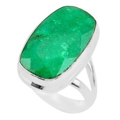925 silver 13.79cts solitaire natural green emerald octagan ring size 6.5 t47239