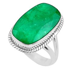 925 silver 13.81cts solitaire natural green emerald octagan ring size 7.5 t47246