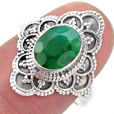 925 silver 3.22cts solitaire natural green emerald oval ring size 7 t46586