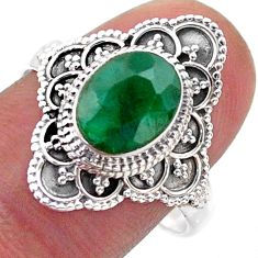 925 silver 3.22cts solitaire natural green emerald oval ring size 9.5 t46591