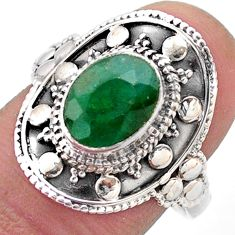 925 silver 3.22cts solitaire natural green emerald oval shape ring size 8 t46673