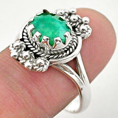925 silver 3.14cts solitaire natural green emerald oval shape ring size 9 t40650