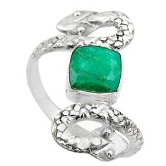 925 silver 2.81cts solitaire natural green emerald snake ring size 7.5 t32006