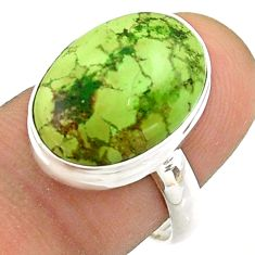 925 silver 10.05cts solitaire natural green gaspeite oval ring size 7 t54703