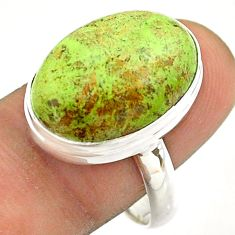 925 silver 13.67cts solitaire natural green gaspeite oval ring size 9 t54706
