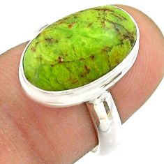 925 silver 6.01cts solitaire natural green gaspeite oval ring size 6.5 t54708