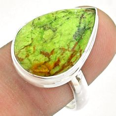925 silver 12.65cts solitaire natural green gaspeite pear ring size 8.5 t54713