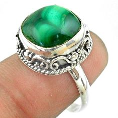 925 silver 6.89cts solitaire natural green malachite cushion ring size 7 t55890