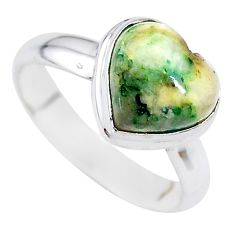 925 silver 4.84cts natural green mariposite heart ring size 7 t21715