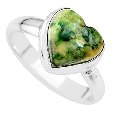 925 silver 4.84cts natural green mariposite heart ring size 8 t21720