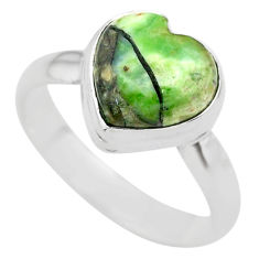 925 silver 4.34cts solitaire natural green mariposite heart ring size 8 t29215