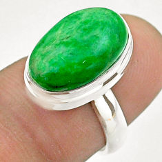 925 silver 6.54cts solitaire natural green maw sit sit oval ring size 6 t54656