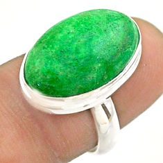 925 silver 11.23cts solitaire natural green maw sit sit oval ring size 7 t54647