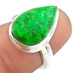925 silver 7.04cts solitaire natural green maw sit sit pear ring size 6 t54633