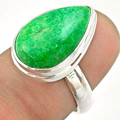 925 silver 7.67cts solitaire natural green maw sit sit pear ring size 6 t54640