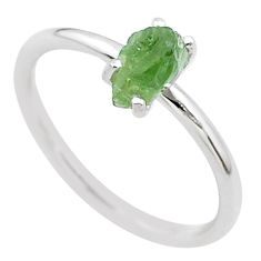 925 silver 3.84cts solitaire natural green moldavite fancy ring size 7 t29425