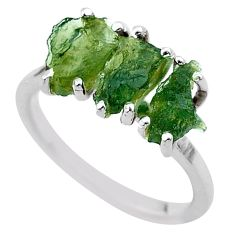 925 silver 5.54cts solitaire natural green moldavite fancy ring size 7 t29433