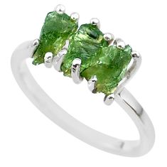 925 silver 5.54cts solitaire natural green moldavite fancy ring size 8 t29414