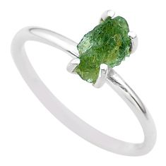 925 silver 3.86cts solitaire natural green moldavite fancy ring size 8 t29445