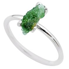925 silver 3.84cts solitaire natural green moldavite fancy ring size 8 t29458